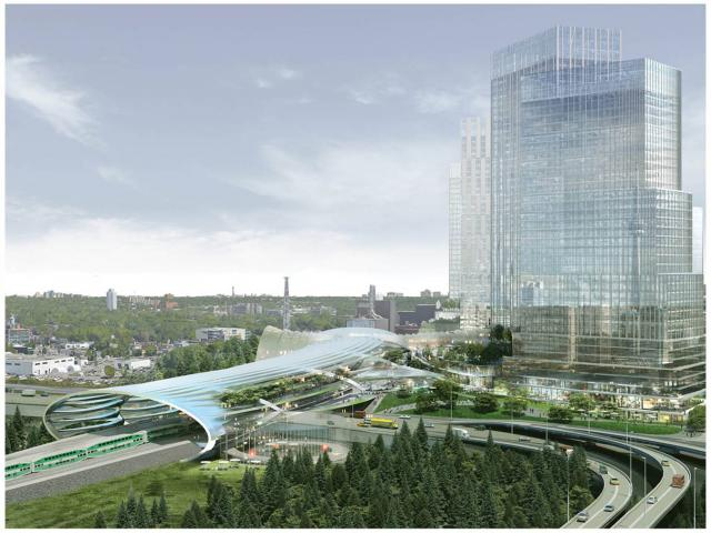 A conceptual rendering of the new transit hub at the Unilever site, image courte