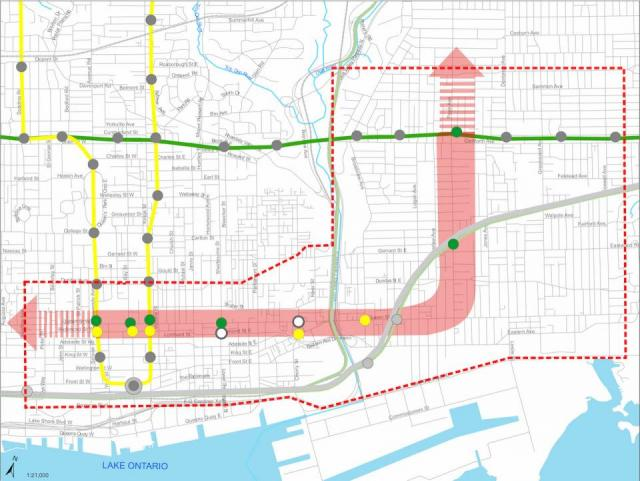 The previous preferred corridor presented in March, image courtesy of the City o