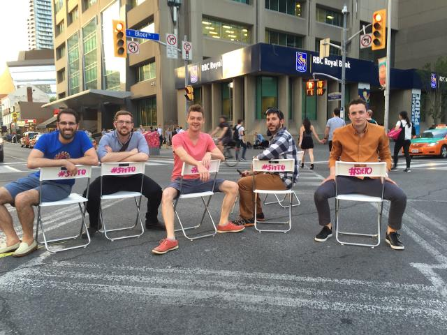 The #SitTO organizers at Yonge and Bloor, image courtesy of Fabienne Chen / #Sit