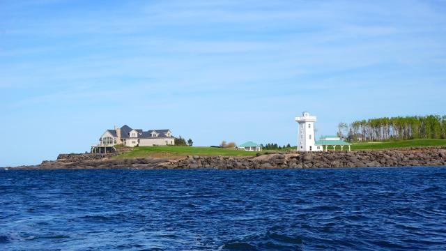 Ron Joyce's home by the Fox Harb'r Marina lighthouse, image by Craig White