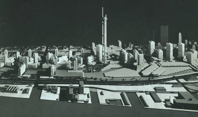 Metro Centre and the original tripod design of the CN Tower, WZMH, Idea Workshop