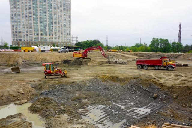 Excavation at The Kip District by Concert Properties, Etobicoke