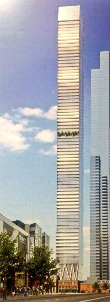 A photo of the rendering for the proposed 80-storey tower, image via David Oikaw