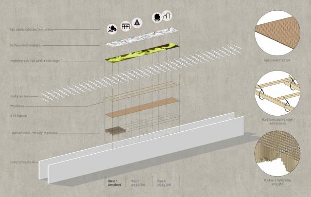 An axonometric diagram of the installation, image courtesy of Mark Francis and N