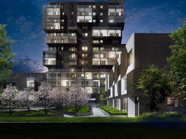 SQ2 and adjacent townhome block, image courtesy of Tridel