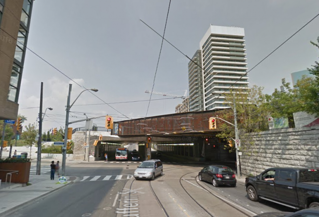 The Dufferin Street Bridge, viewed from the south, image via Google Maps