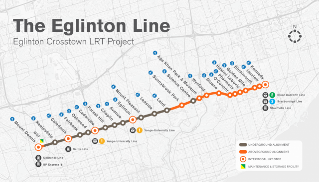 Map of the Crosstown LRT's stations and stops, image courtesy of Metrolinx