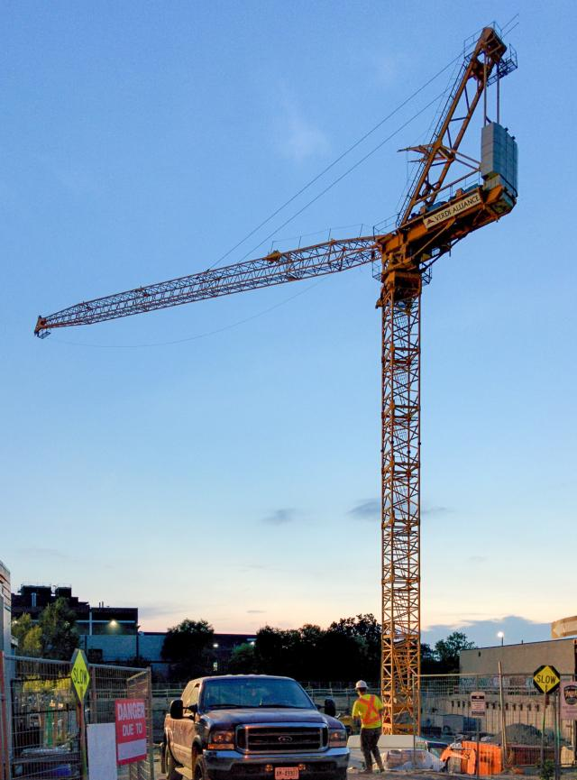 Crane installed at the site of Enigma on the Park, image by smably