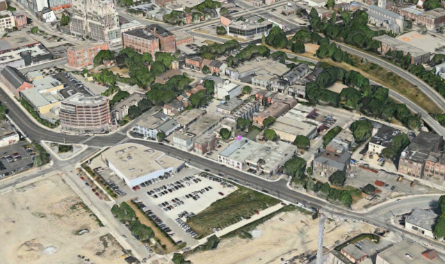 Northwest view of subject site and surroundings, image retrieved from Apple Maps