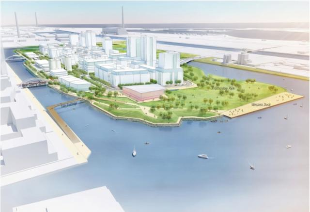 Conceptual future vision looking east across Port Lands, image via Waterfront To