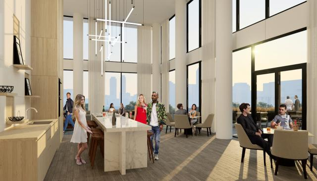 Rendering of party room at The Wyatt, image courtesy of The Daniels Corporation