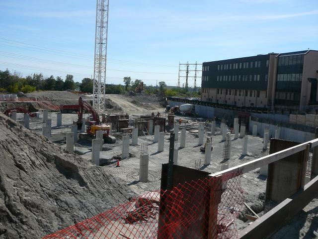 Tower crane and below-grade progress at The Kip District