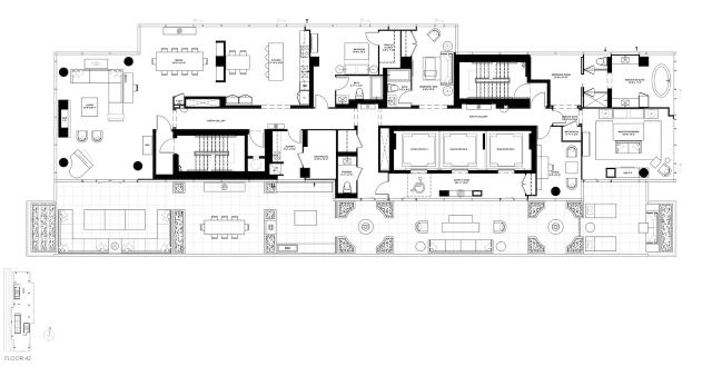 Penthouse floorplan at The Bond, image courtesy of Lifetime