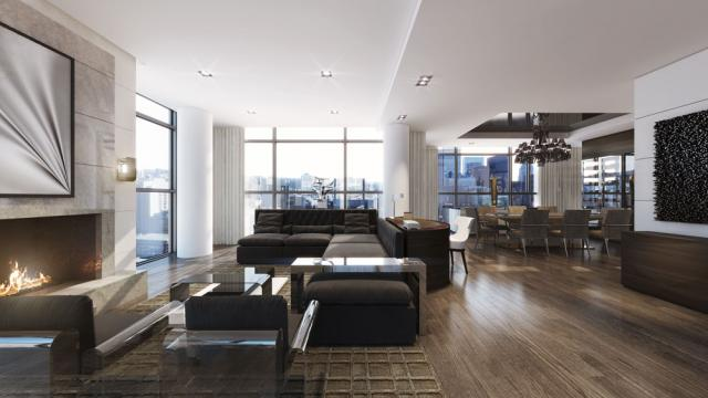 Penthouse interior rendering for The Bond, image courtesy of Lifetime