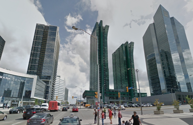 Looking south on Yonge to Sheppard, image via Google Maps
