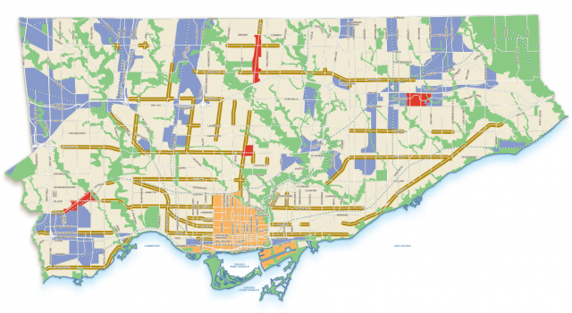 Planning map showing the 'Centres' in red, image via the City of Toronto