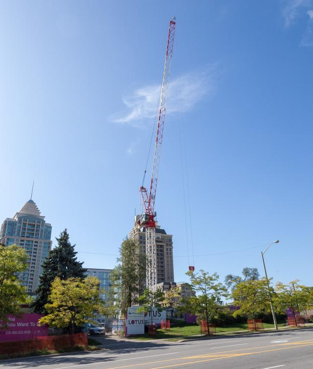 Crane installed at the site of Lotus Condos, image by Jack Landau