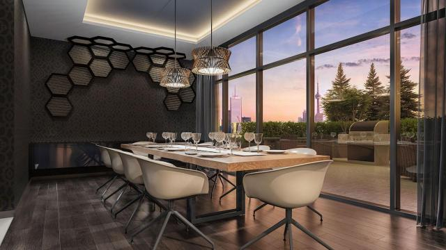 Party room dining area at 159SW Condos, image courtesy of Alterra