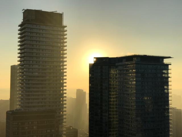 Sunrise captured from Uptown Residences, image by Forum contributor Benito