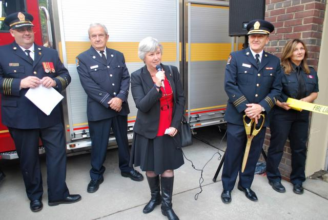 Sarah Doucette speaks to assembled audience, Toronto, Runnymede Fire Station 424