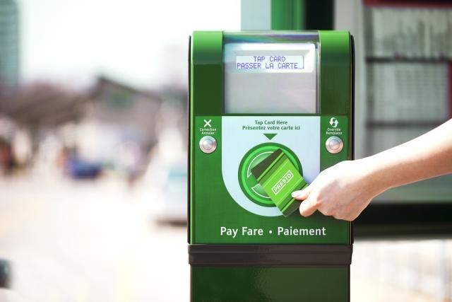 PRESTO card and reader, image courtesy of Metrolinx