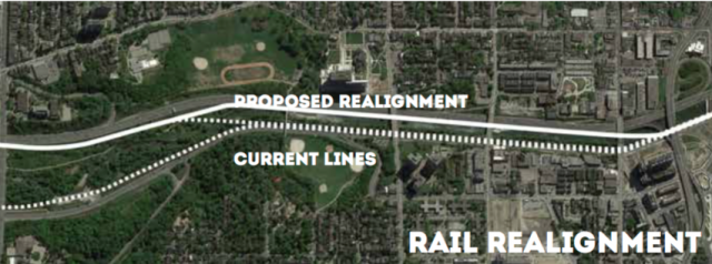 The potential realignment, image via Ryerson University / Evergreen