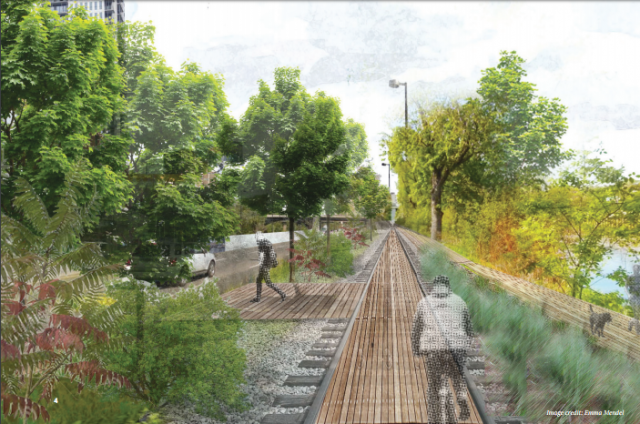 The Rail Track re-imagined as a cycling track, image courtesy of Ryerson Univers