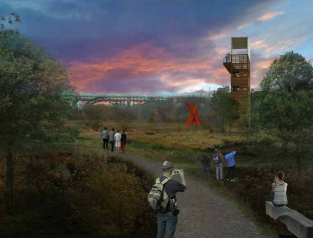 Conceptual 2013 Master Plan rendering of park at snow dump site, image courtesy