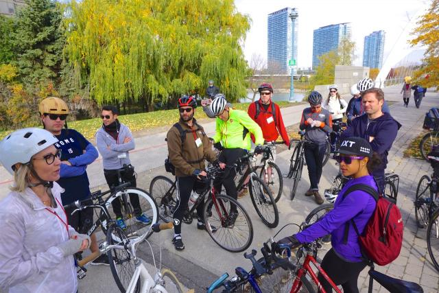 ULI Bike Ride, At the Humber Pedestrian and Bike Bridge, image by Craig White