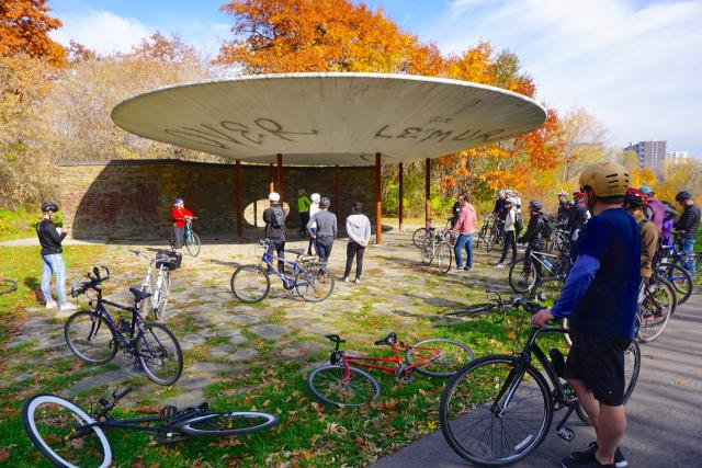 ULI Bike Ride, At the Oculus on the Humber Trail, image by Craig White
