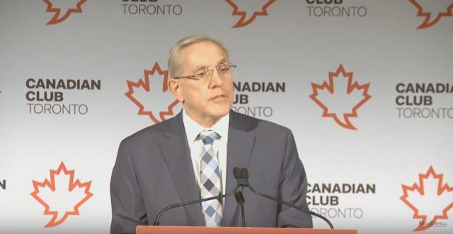 Ontario's Minister of Infrastructure, Bob Chiarelli, speaking at the Canadian Cl
