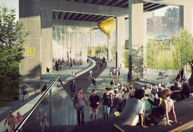 Artistic rendering of The Bentway project by Public Works, image by Public Work