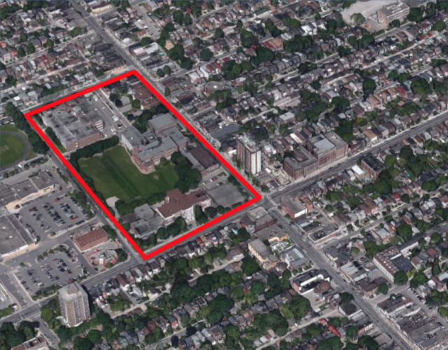 The subject site, excluding the Brockton Stadium, image via the City of Toronto
