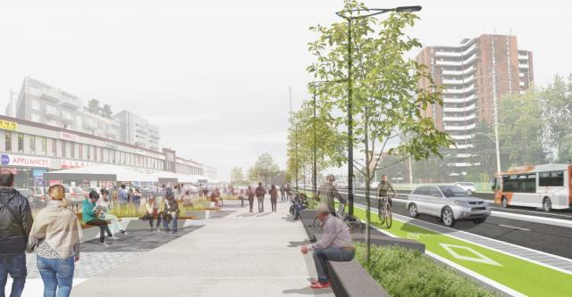 Dundas Connects Concept, strip plaza condition, Mississauga, image by SvN