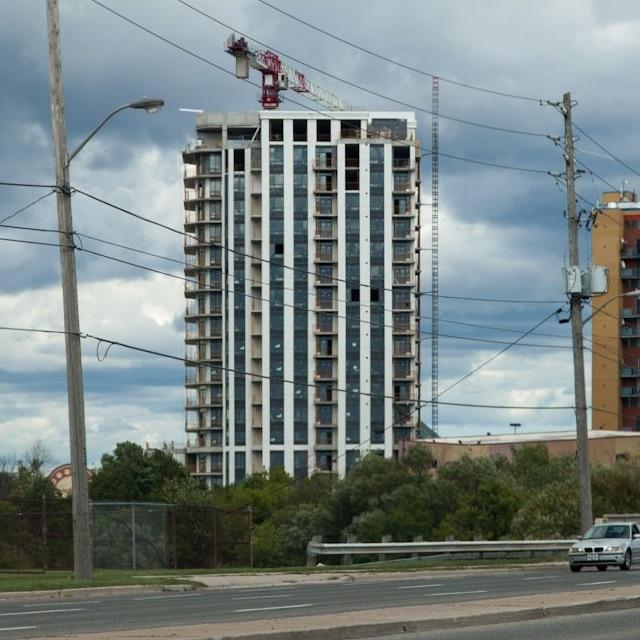 View of Phase 1 of The Lexington under construction in August, 2016, Etobicoke