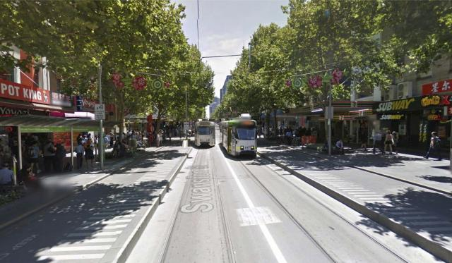 Melbourne's Swanston St in 2014, after transit mall