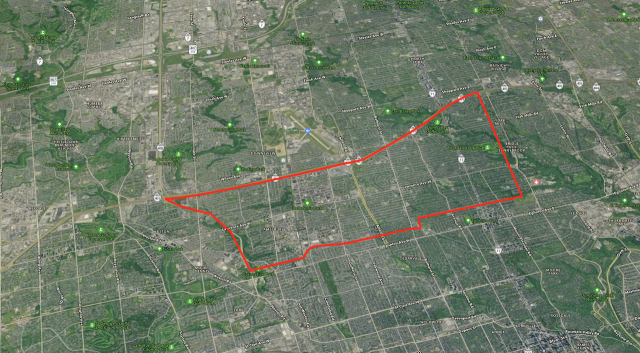 Map of the Yorkdale - York Mills Boundary, image retrieved from Apple Maps