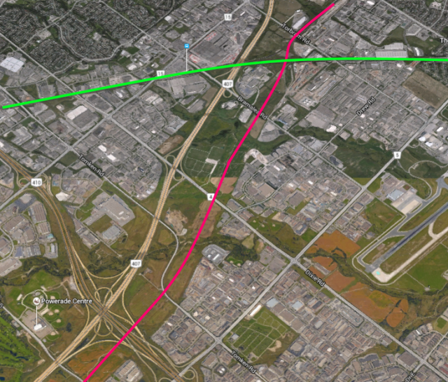 Conceptual alignment of the Missing Link west of Bramalea GO