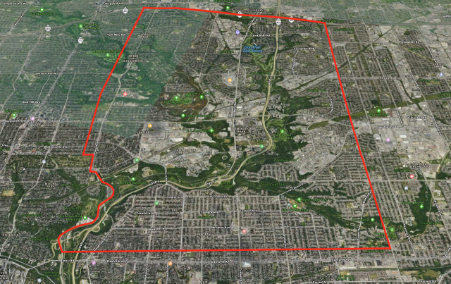 Map of the East York - Don Mills boundary, image via Apple Maps