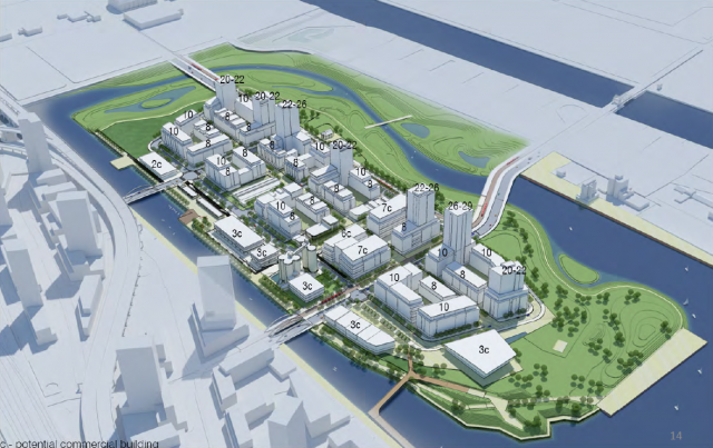 A vision for the area set out in the Villers Island Precinct Plan, image via Wat