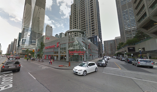 Street view of the Scotiabank building on Bloor St, image courtesy of Google Map