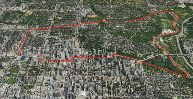 Boundary of the Yorkville area, image courtesy of Apple Maps