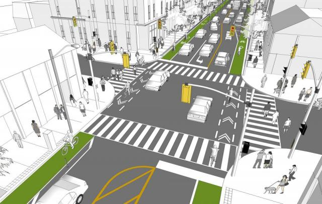 Intersection rendering, showing the new bike lanes, image via City of Toronto