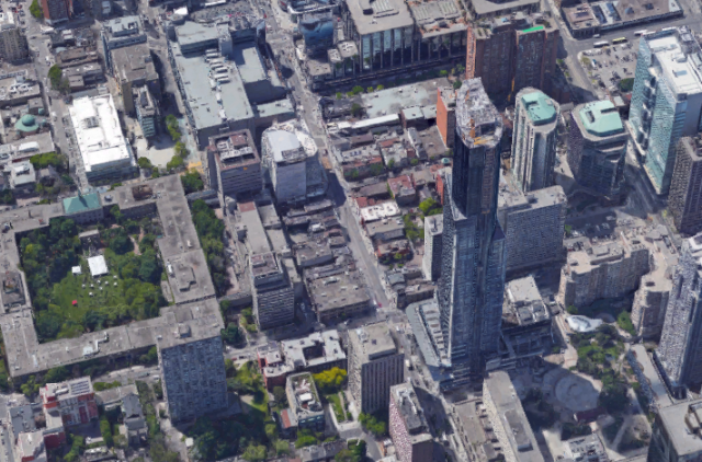 3D aerial view of Yonge and Gerrard, looking southwest, existing context, image