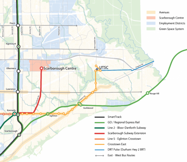 The future Scarborough transit network (preliminary vision), image via City of T