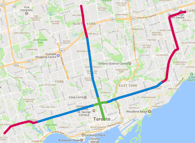 Short (Green), Medium (Blue), Long (Red) trip distances from Queen station