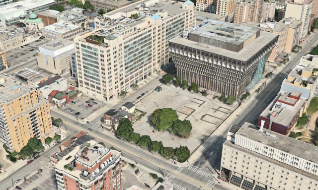 Aerial view of the two Ryerson properties currently parking lots, circa 2011, im