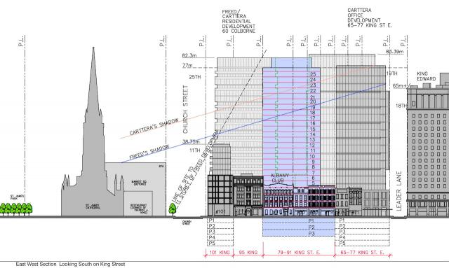 91 King East proposal, East-West section in blue, diagram by WZMH Architects