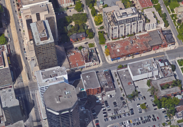 Yonge and Delisle, 3D aerial view via Google Maps