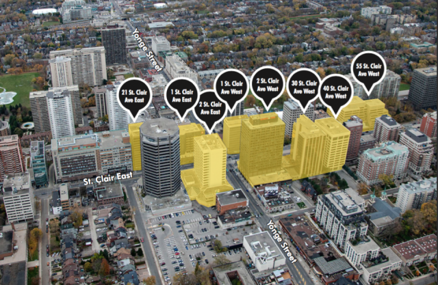 Slate's portfolio of Yonge and St. Clair office buildings, image via Slate Asset